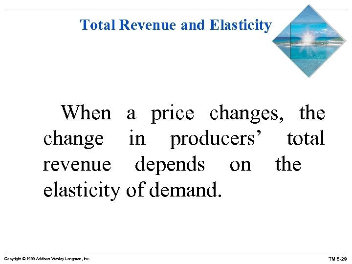 Total Revenue and Elasticity When a price changes, the change in producers' total revenue