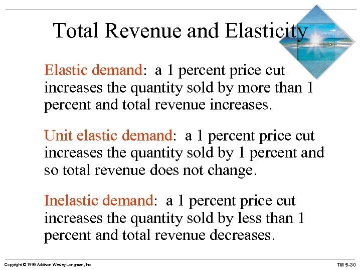 Total Revenue and Elasticity Elastic demand: a 1 percent price cut increases the quantity