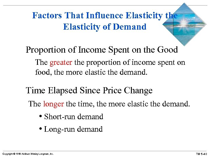 Factors That Influence Elasticity the Elasticity of Demand Proportion of Income Spent on the