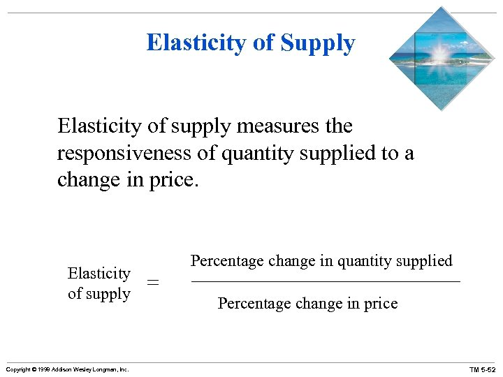 Elasticity of Supply Elasticity of supply measures the responsiveness of quantity supplied to a