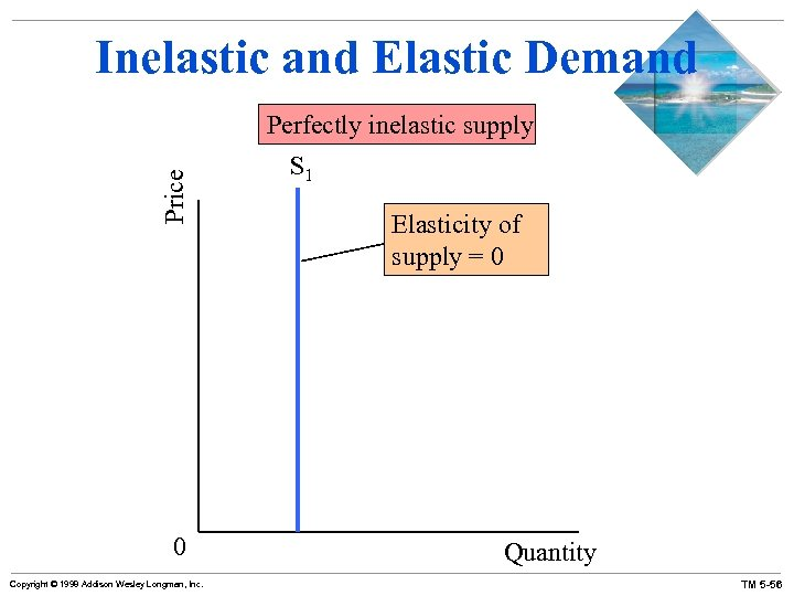 Inelastic and Elastic Demand Price Perfectly inelastic supply 0 Copyright © 1998 Addison Wesley