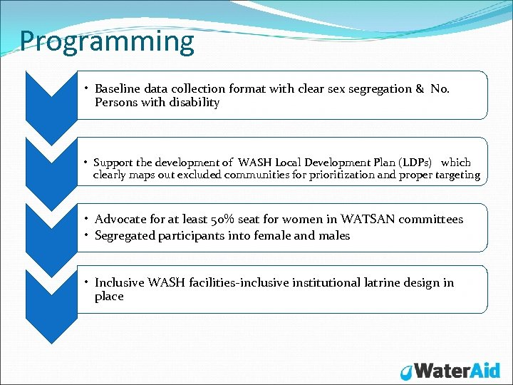 Programming • Baseline data collection format with clear sex segregation & No. Persons with