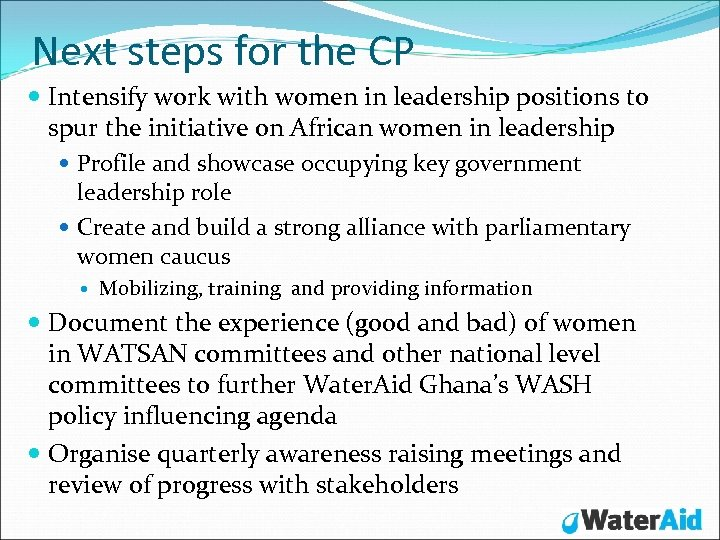 Next steps for the CP Intensify work with women in leadership positions to spur