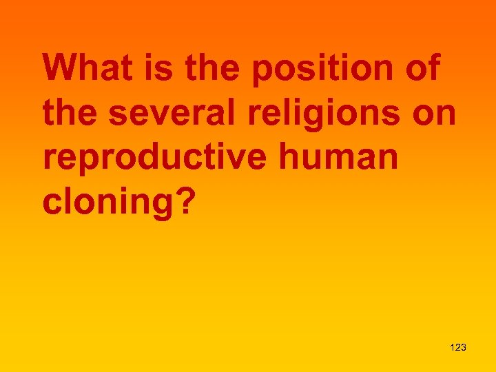 What is the position of the several religions on reproductive human cloning? 123