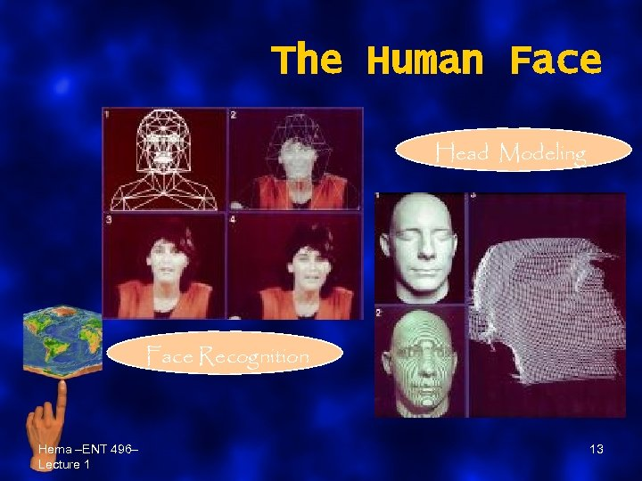 The Human Face Head Modeling Face Recognition Hema –ENT 496– Lecture 1 13