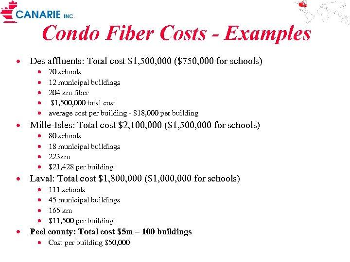 Condo Fiber Costs - Examples · Des affluents: Total cost $1, 500, 000 ($750,