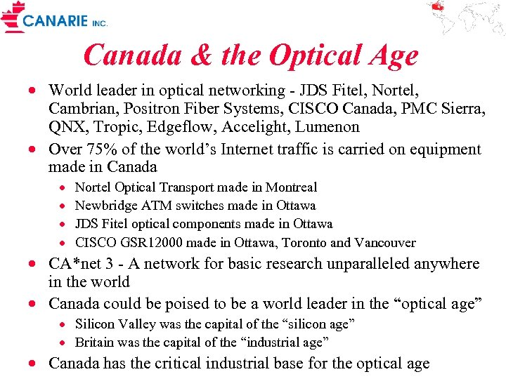Canada & the Optical Age · World leader in optical networking - JDS Fitel,