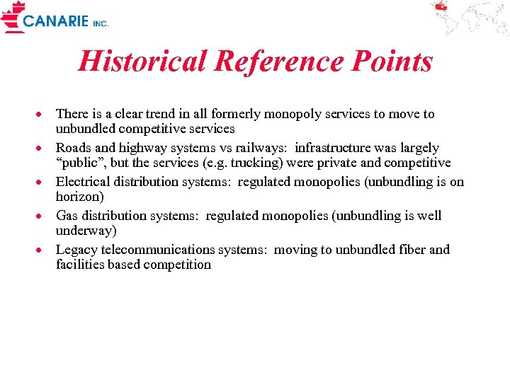 Historical Reference Points · There is a clear trend in all formerly monopoly services