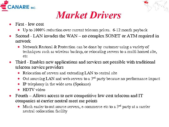 Market Drivers · First - low cost · Up to 1000% reduction over current