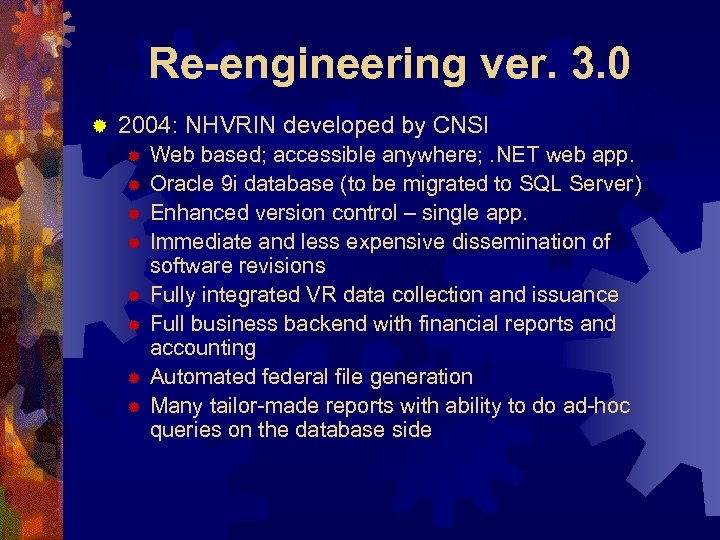 Re-engineering ver. 3. 0 ® 2004: NHVRIN developed by CNSI ® ® ® ®