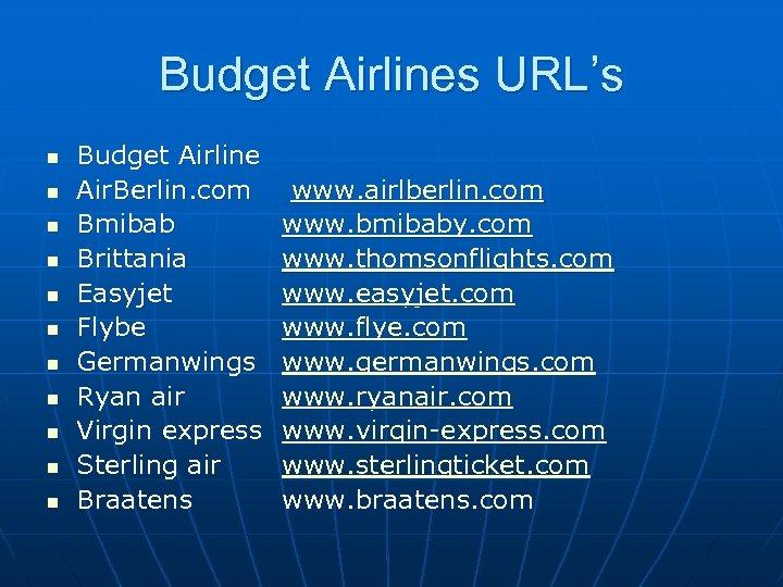 Budget Airlines URL's n n n Budget Airline Air. Berlin. com Bmibab Brittania Easyjet