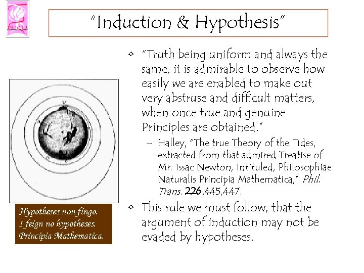 """Induction & Hypothesis"" • ""Truth being uniform and always the same, it is admirable"