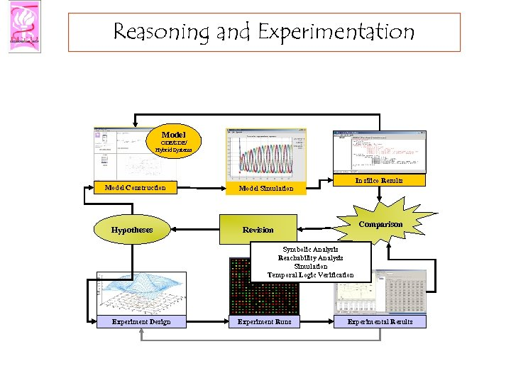 Reasoning and Experimentation Model ODE/SDE/ Hybrid Systems Model Construction Hypotheses In silico Results Model