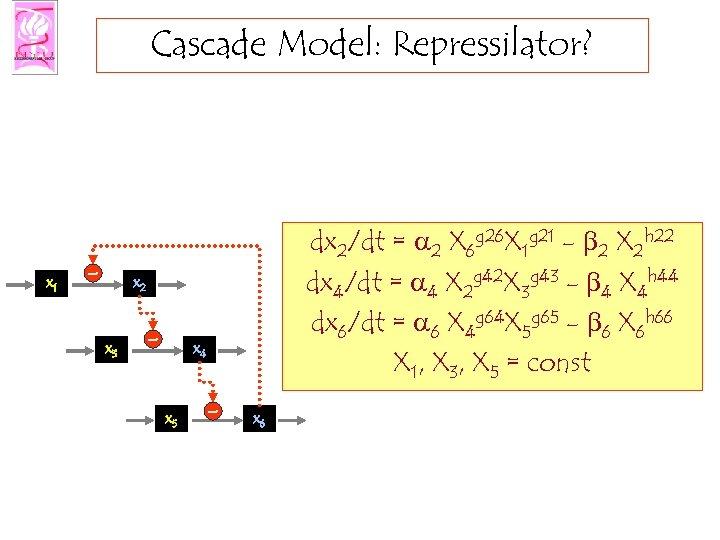 Cascade Model: Repressilator? x 1 - dx 2/dt = a 2 X 6 g