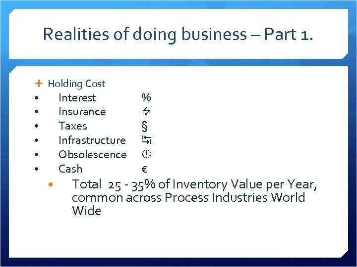 Realities of doing business – Part 1. Holding Cost Interest Insurance Taxes Infrastructure Obsolescence