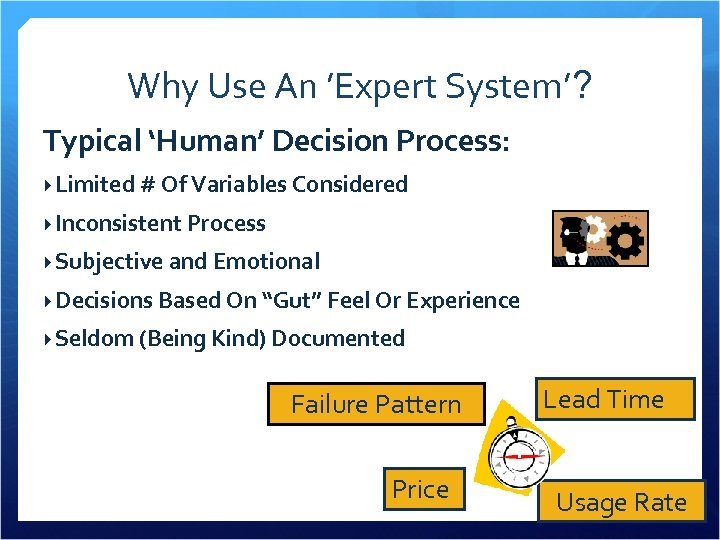 Why Use An 'Expert System'? Typical 'Human' Decision Process: Limited # Of Variables Considered