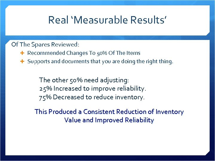 Real 'Measurable Results' Of The Spares Reviewed: Recommended Changes To 50% Of The Items