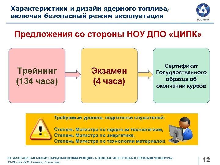 Характеристики и дизайн ядерного топлива, включая безопасный режим эксплуатации Предложения со стороны НОУ ДПО