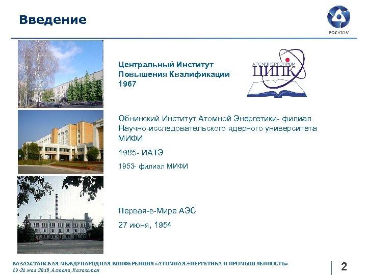 Введение Центральный Институт Повышения Квалификации 1967 Обнинский Институт Атомной Энергетики- филиал Научно-исследовательского ядерного университета