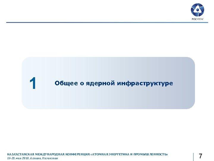 1 Общее о ядерной инфраструктуре КАЗАХСТАНСКАЯ МЕЖДУНАРОДНАЯ КОНФЕРЕНЦИЯ «АТОМНАЯ ЭНЕРГЕТИКА И ПРОМЫШЛЕННОСТЬ» 19 -21