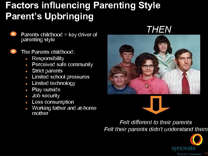Factors influencing Parenting Style Parent's Upbringing THEN Parents childhood = key driver of parenting
