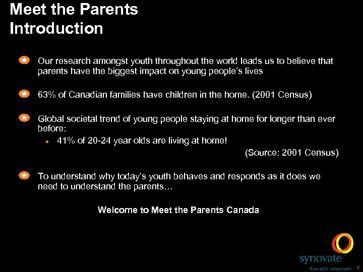 Meet the Parents Introduction Our research amongst youth throughout the world leads us to