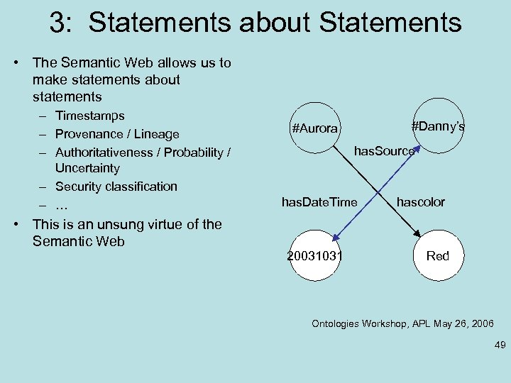 3: Statements about Statements • The Semantic Web allows us to make statements about