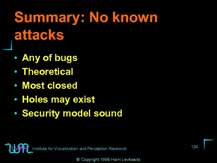Summary: No known attacks • • • Any of bugs Theoretical Most closed Holes