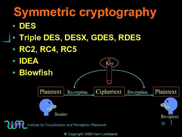 Symmetric cryptography • • • DES Triple DES, DESX, GDES, RDES RC 2, RC