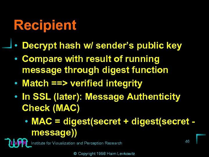 Recipient • Decrypt hash w/ sender's public key • Compare with result of running