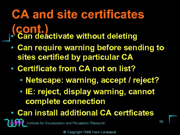 CA and site certificates (cont. ) • Can deactivate without deleting • Can require