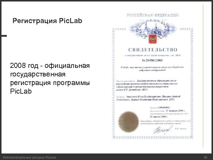 Регистрация Pic. Lab 2008 год - официальная государственная регистрация программы Pic. Lab Интеллектуальные ресурсы