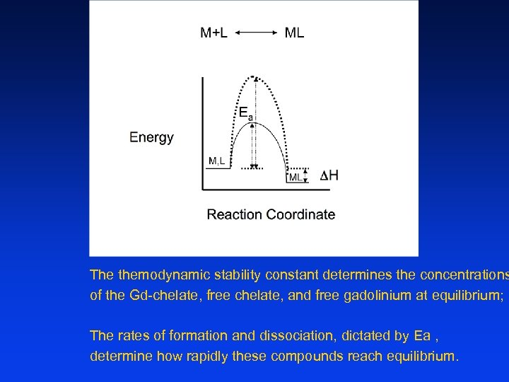 The themodynamic stability constant determines the concentrations of the Gd-chelate, free chelate, and free