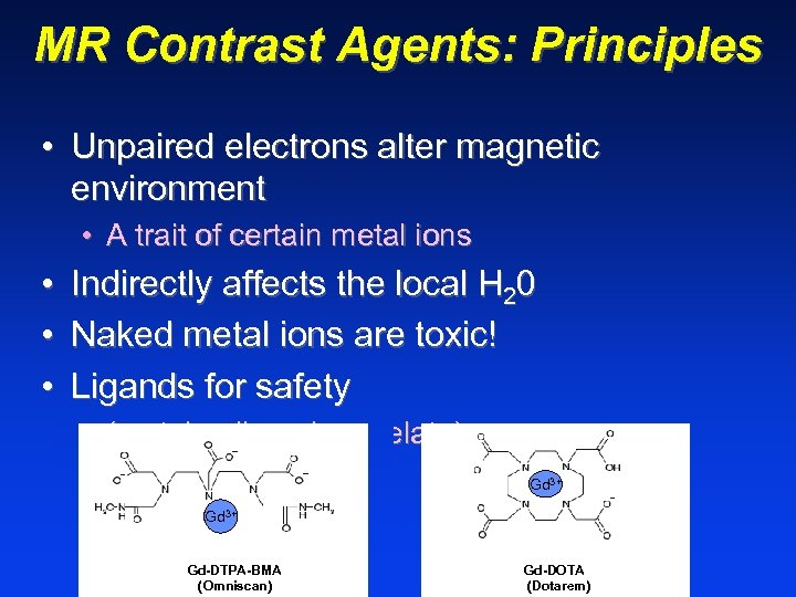 MR Contrast Agents: Principles • Unpaired electrons alter magnetic environment • A trait of