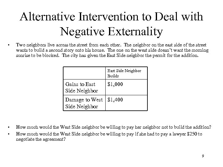 Alternative Intervention to Deal with Negative Externality • Two neighbors live across the street