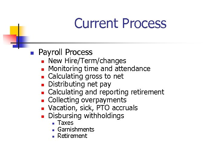 Current Process n Payroll Process n n n n New Hire/Term/changes Monitoring time and