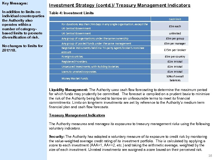 Key Messages: Investment Strategy (contd. )/ Treasury Management Indicators In addition to limits on