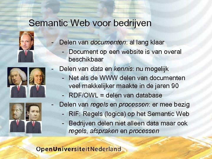 Semantic Web voor bedrijven Delen van documenten: al lang klaar Document op een website