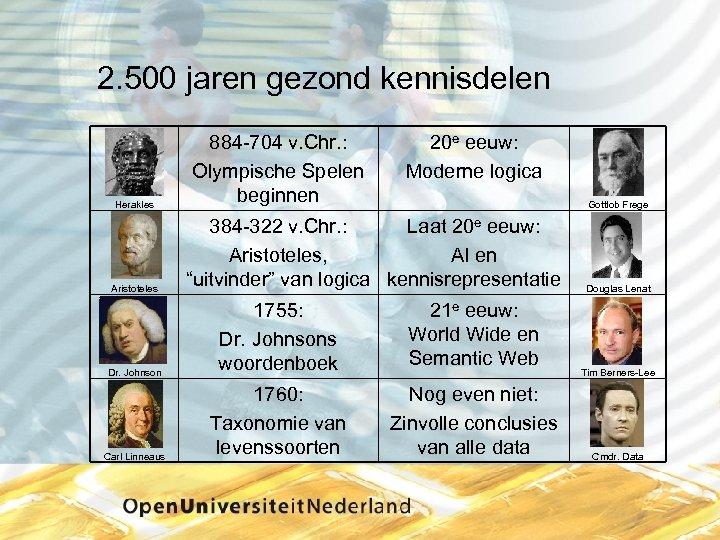 2. 500 jaren gezond kennisdelen Herakles Aristoteles 884 704 v. Chr. : Olympische Spelen