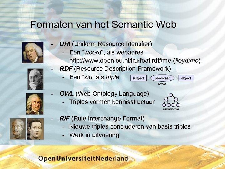 """Formaten van het Semantic Web URI (Uniform Resource Identifier) Een """"woord"""", als webadres http:"""