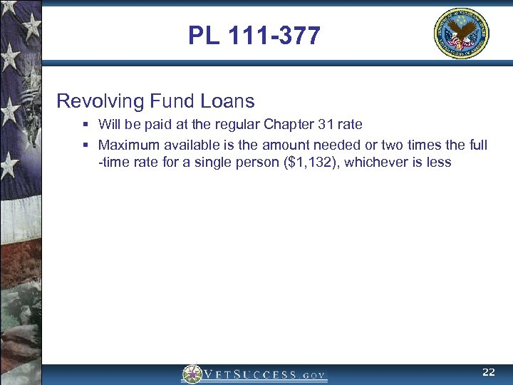 PL 111 -377 Revolving Fund Loans § Will be paid at the regular Chapter