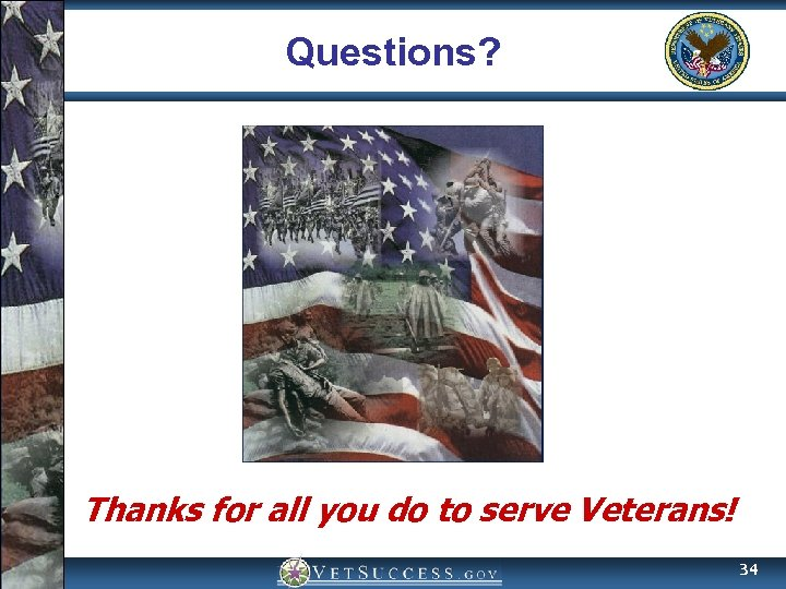 Questions? Thanks for all you do to serve Veterans! 34