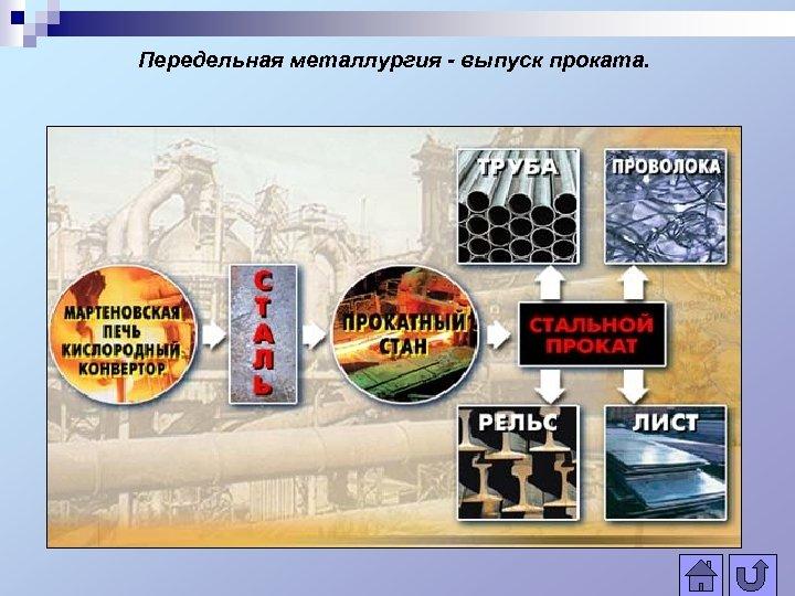 Передельная металлургия - выпуск проката.