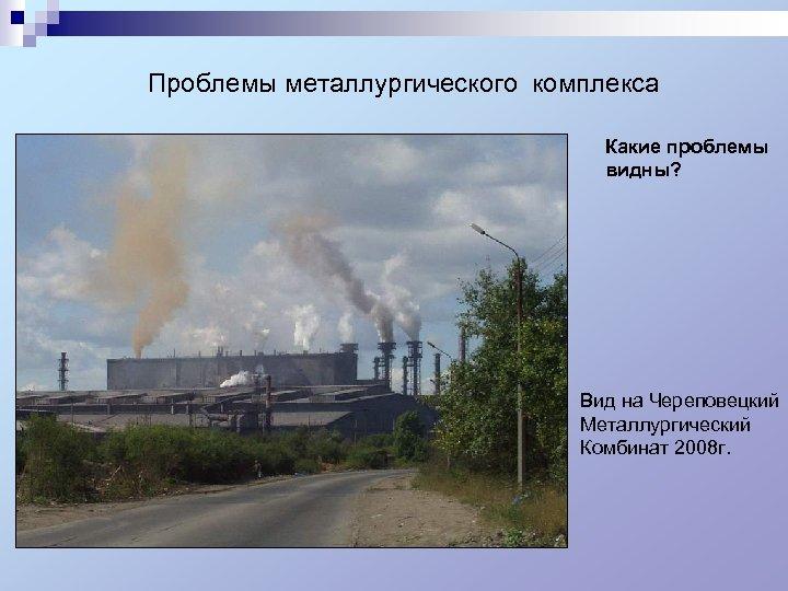 Проблемы металлургического комплекса Какие проблемы видны? Вид на Череповецкий Металлургический Комбинат 2008 г.