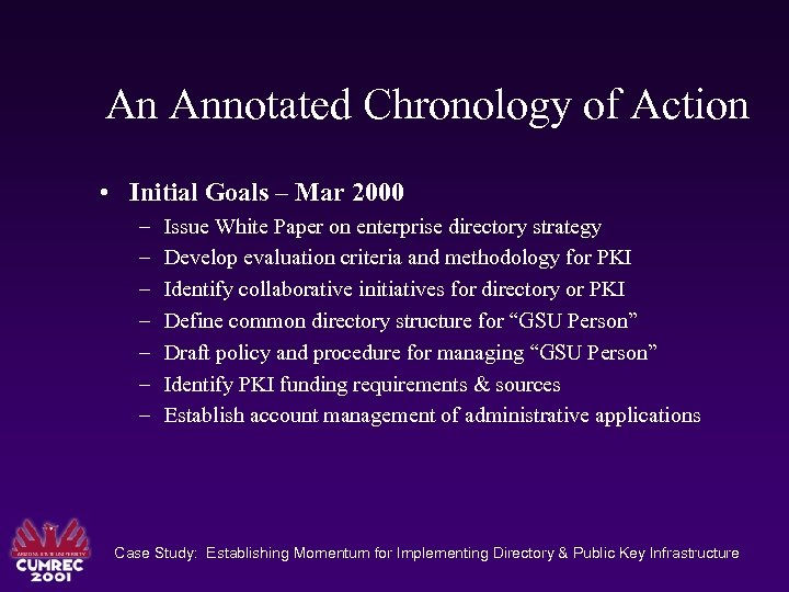 An Annotated Chronology of Action • Initial Goals – Mar 2000 – – –