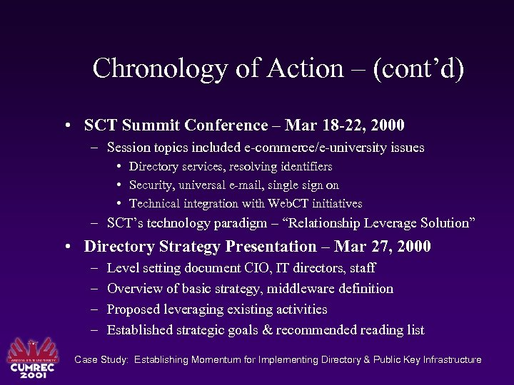 Chronology of Action – (cont'd) • SCT Summit Conference – Mar 18 -22, 2000