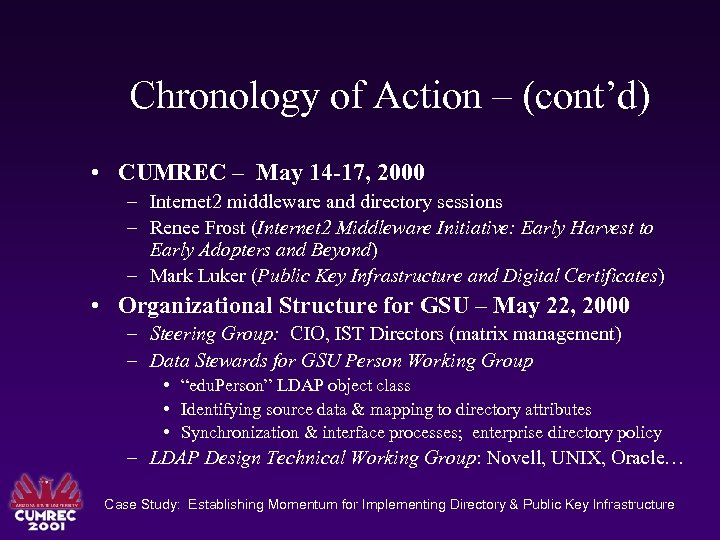 Chronology of Action – (cont'd) • CUMREC – May 14 -17, 2000 – Internet