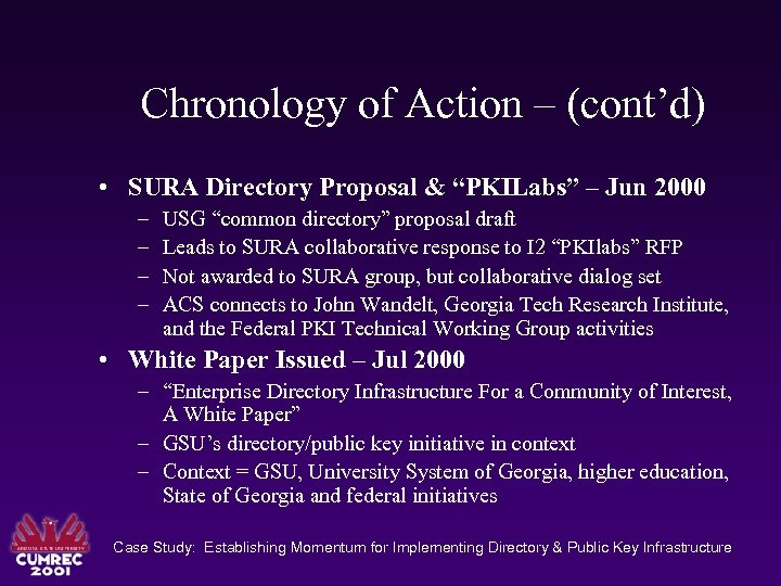 "Chronology of Action – (cont'd) • SURA Directory Proposal & ""PKILabs"" – Jun 2000"