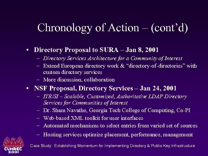 Chronology of Action – (cont'd) • Directory Proposal to SURA – Jan 8, 2001