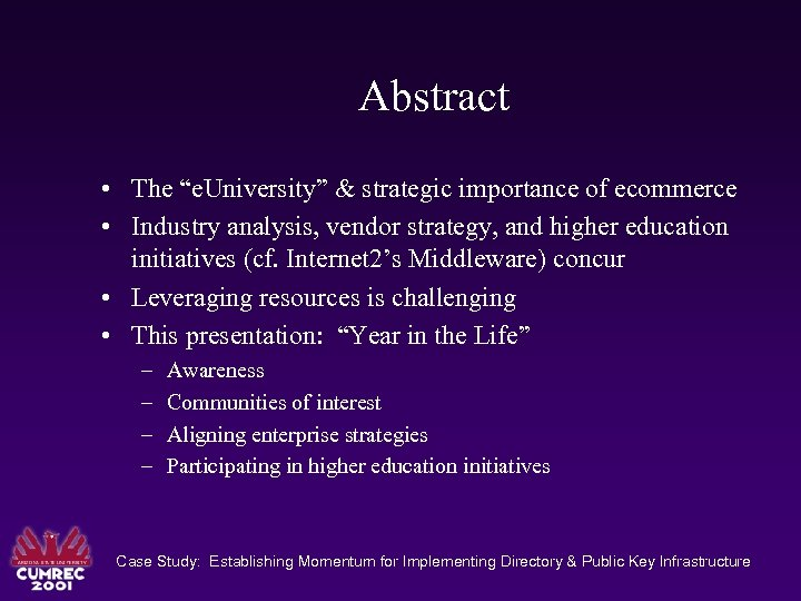 "Abstract • The ""e. University"" & strategic importance of ecommerce • Industry analysis, vendor"